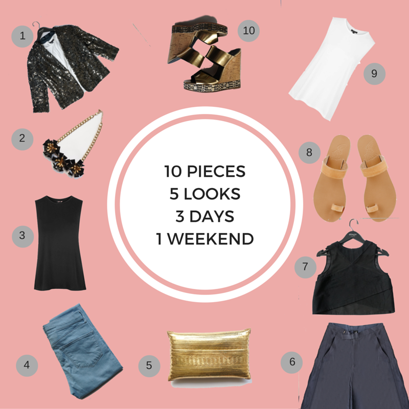 10 Items5 Looks3 Days1 Weekend